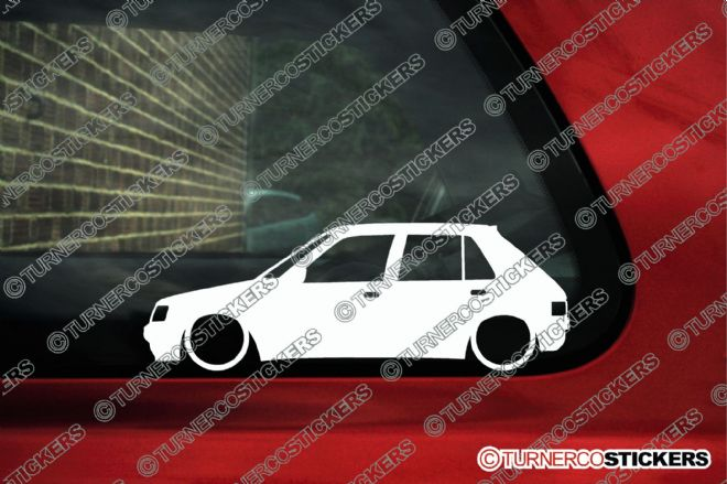 2x Lowered car outline stickers - Peugeot 205 , 5-door